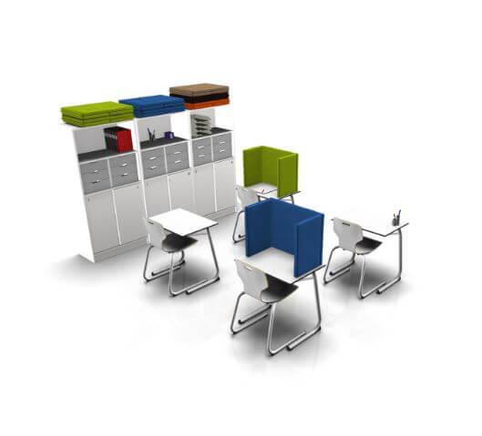 Akoestische scherm tafelformaat school onderwijs