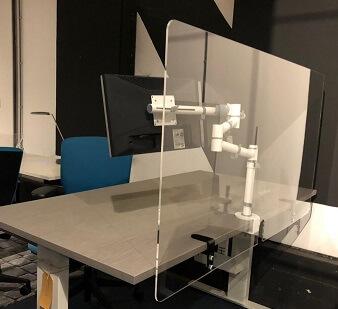 Scheidingsscherm bureauscherm plexiglas beugels